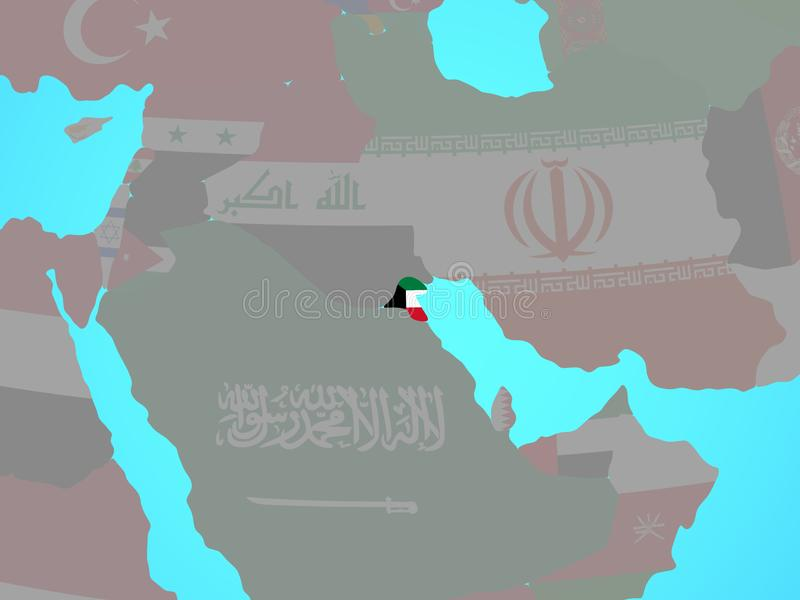 Kuwait con la bandera en mapa libre illustration