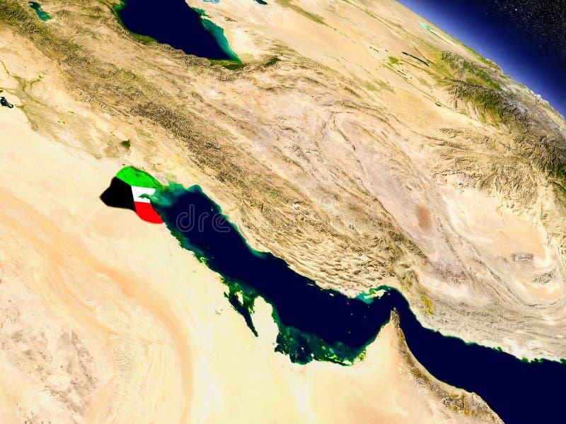 Kuwait con la bandera integrada en la tierra stock de ilustración