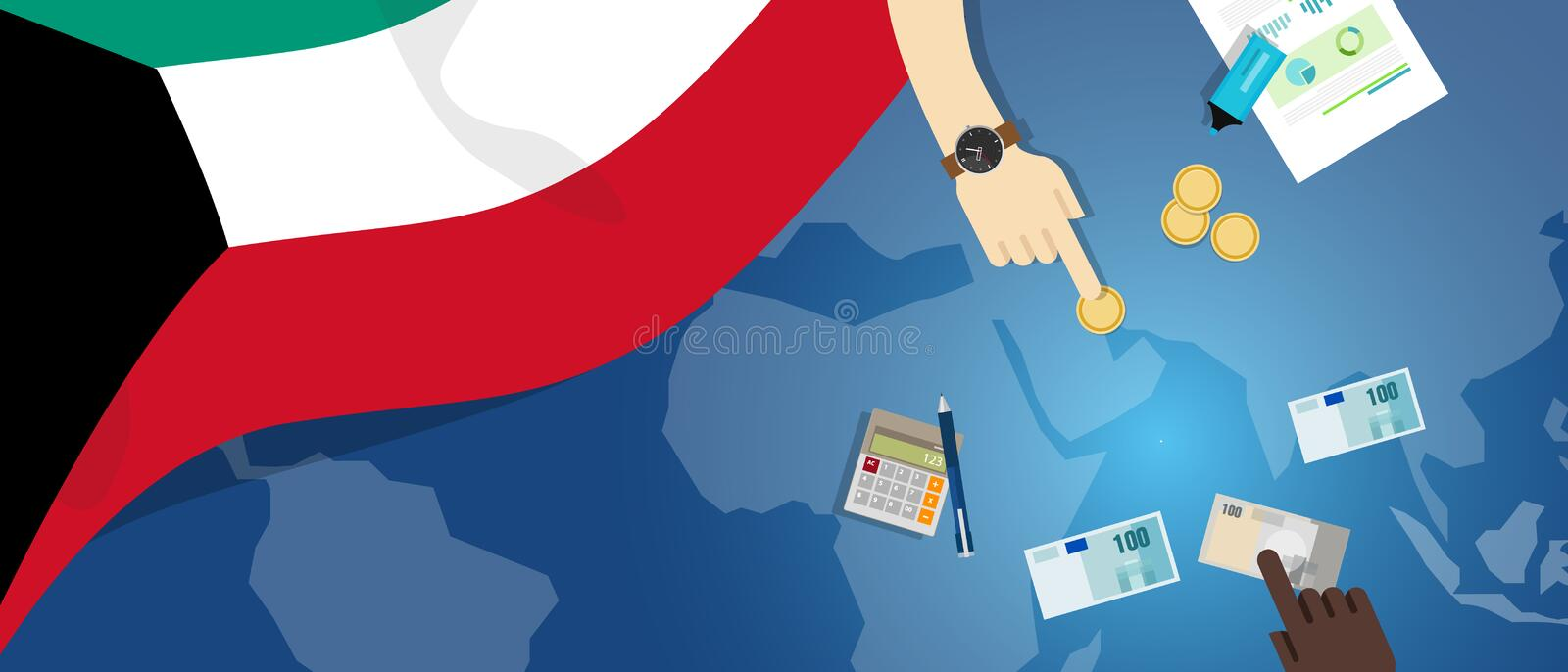 Kuwait economy fiscal money trade concept illustration of financial banking budget with flag map and currency. Vector stock illustration