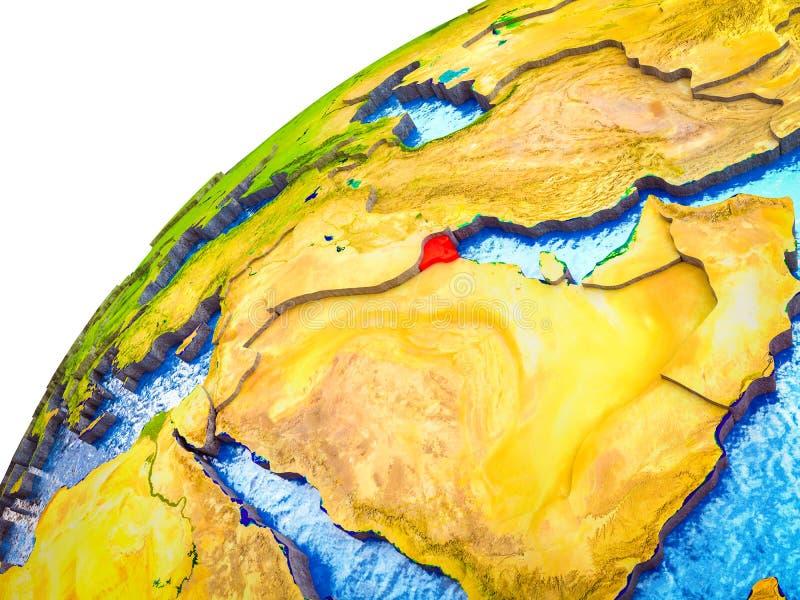 Kuwait en la tierra 3D ilustración del vector