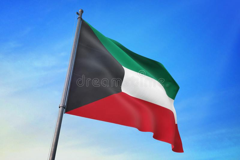 Kuwait fahnenschwenkend auf der Illustration des blauen Himmels 3D vektor abbildung