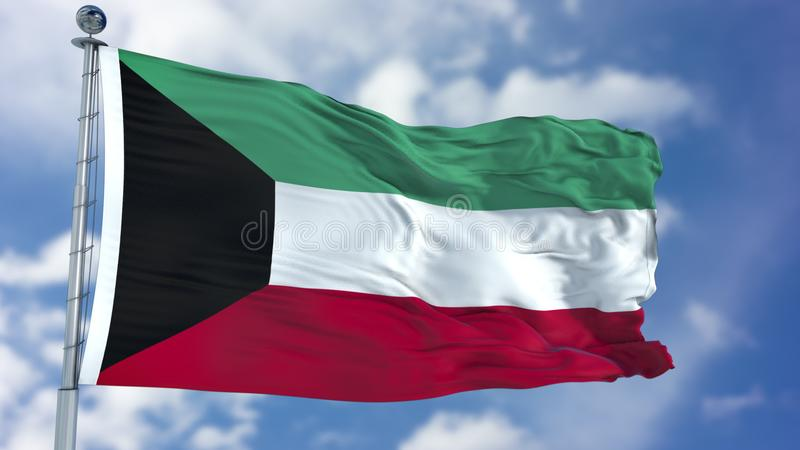 Kuwait Flag in a Blue Sky stock images