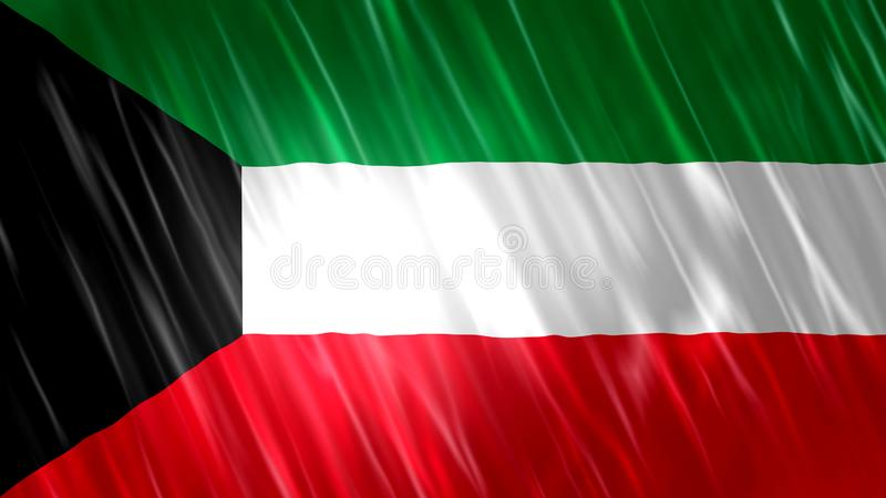 Kuwait flagga royaltyfri illustrationer