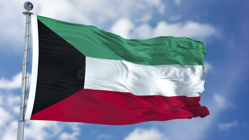 Kuwait flagga i en blå himmel arkivbilder