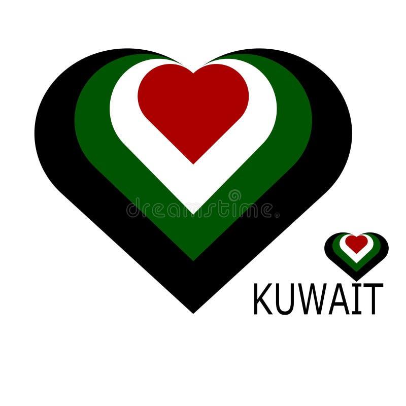 Kuwait flagga i form av ett hjärtasymbol stock illustrationer