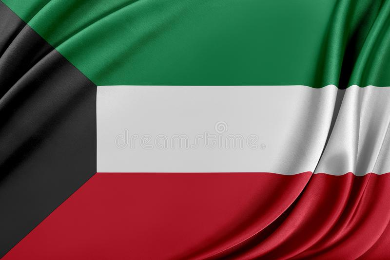 Kuwait flagga med en glansig siden- textur stock illustrationer