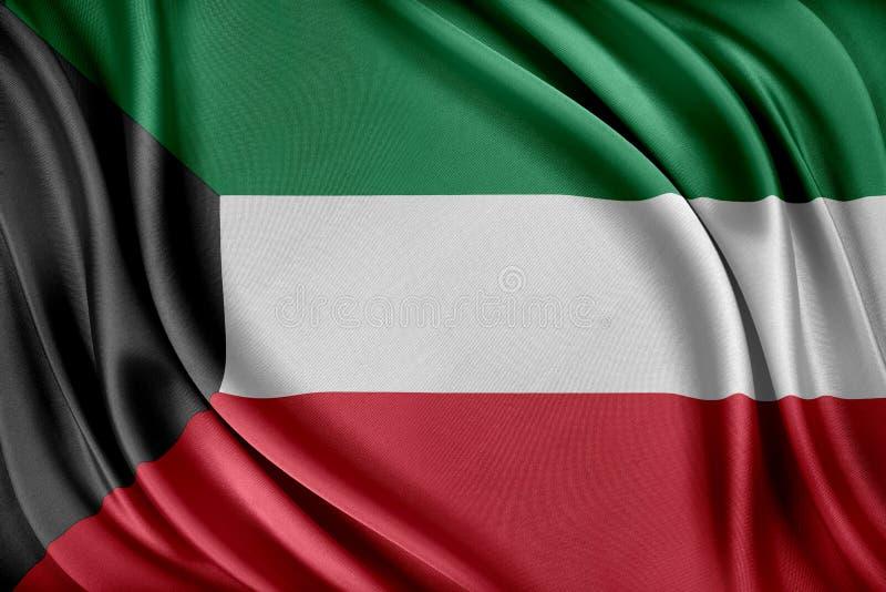 Kuwait flagga Flagga med en glansig siden- textur royaltyfri illustrationer