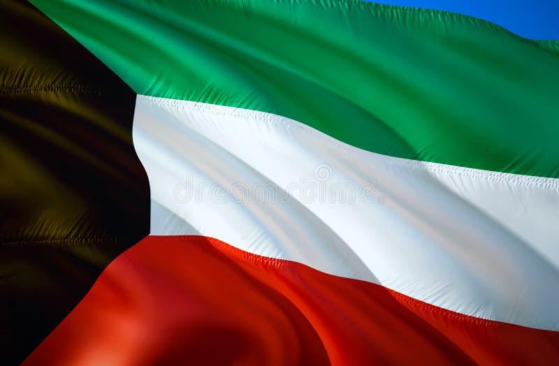 Kuwait-Flagge wellenartig bewegendes Design der Flagge 3D Das nationale Sonderzeichen von Kuwait, Wiedergabe 3D Nationale Farben  stock abbildung