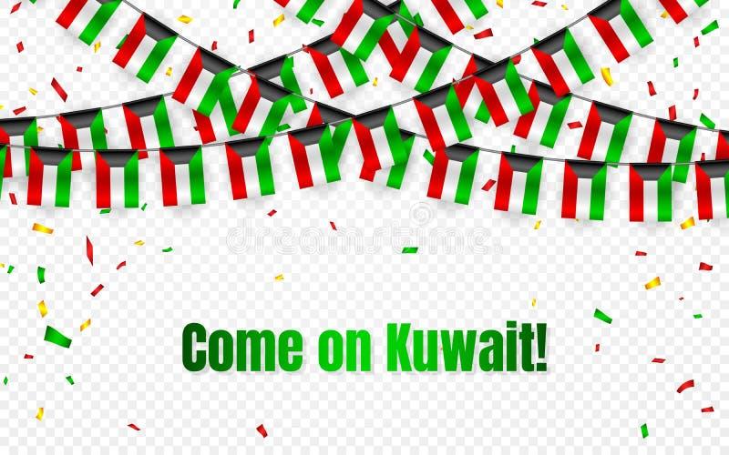 Kuwait girlandflagga med konfettier på genomskinlig bakgrund, hängningbunting för berömmallbanret, vektorillustration stock illustrationer