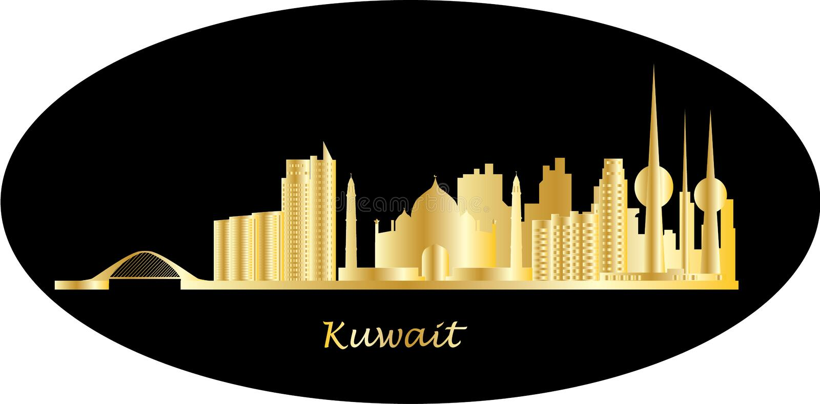 Kuwait horisont stock illustrationer