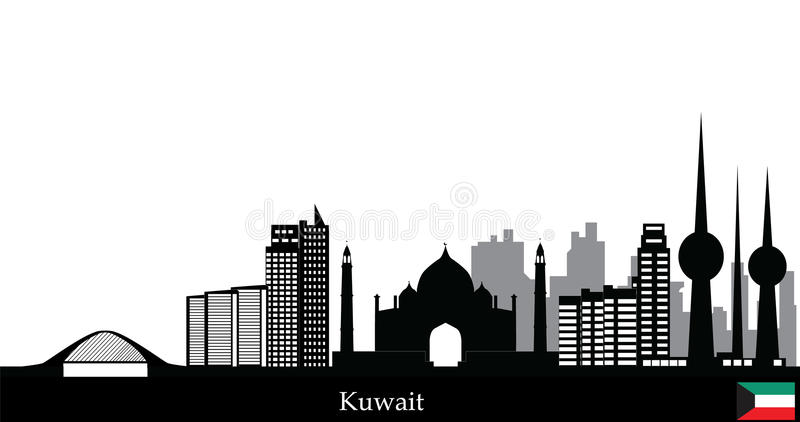 Kuwait horisont vektor illustrationer