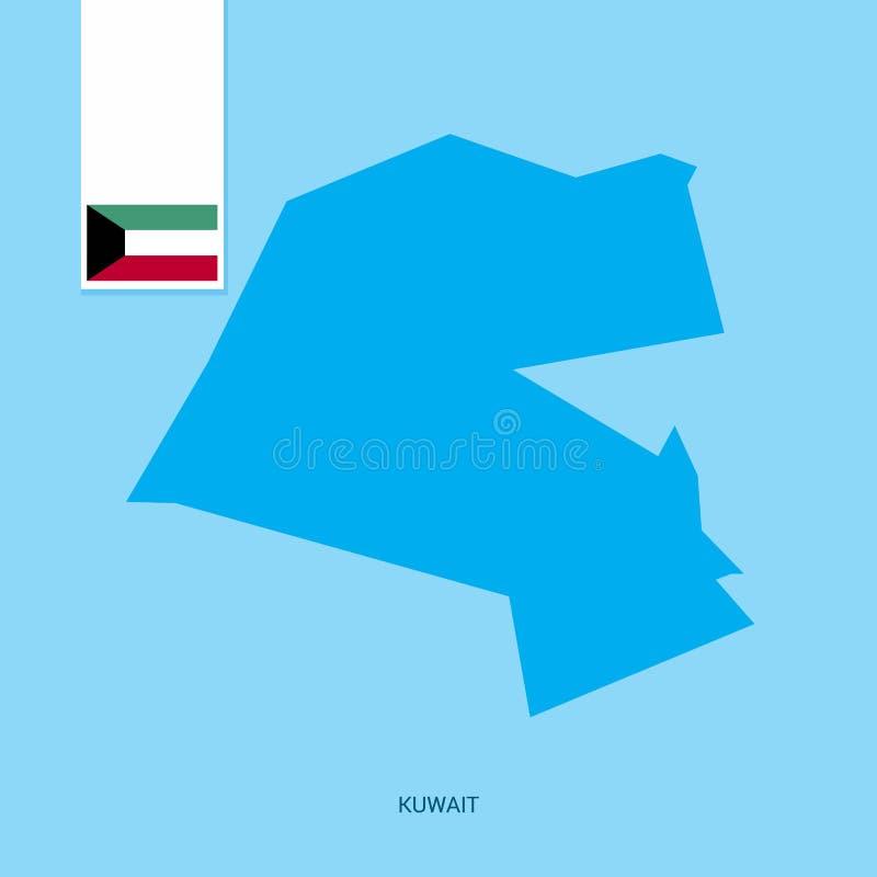 Kuwait landsöversikt med flaggan över blå bakgrund royaltyfri illustrationer