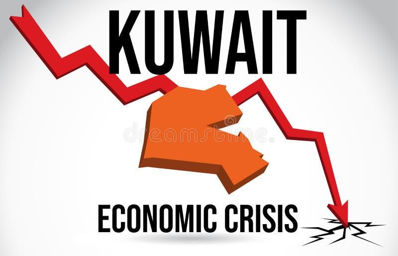 Kuwait Map Financial Crisis Economic Collapse Market Crash Global Meltdown Vector. Illustration royalty free illustration