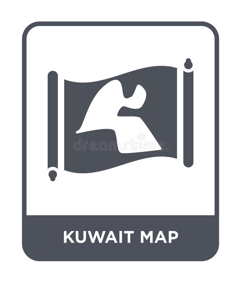 Kuwait map icon in trendy design style. kuwait map icon isolated on white background. kuwait map vector icon simple and modern. Flat symbol for web site, mobile royalty free illustration
