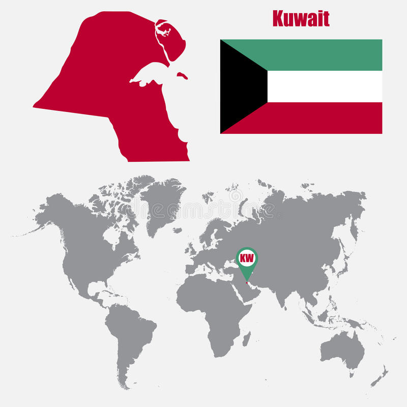 Kuwait Map On A World Map With Flag And Map Pointer Vector