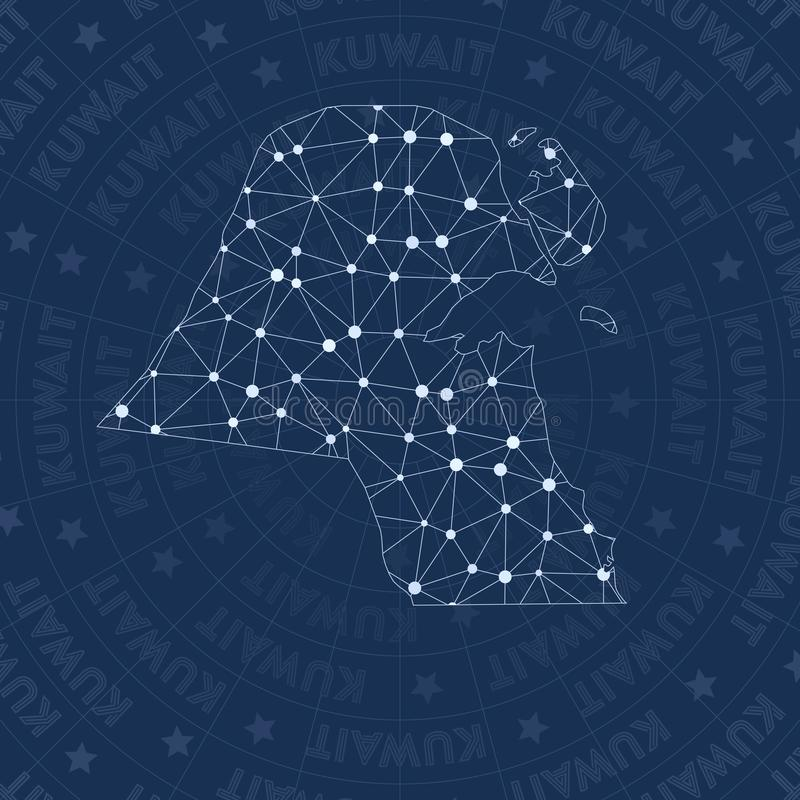 Kuwait network, constellation style country map. Perfect space style, modern design. Kuwait network map for infographics or presentation stock illustration