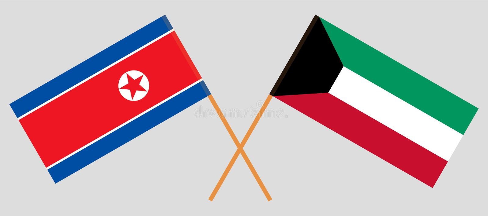 Kuwait and North Korea. Kuwaiti and Korean flags. Official colors. Correct proportion. Vector vector illustration