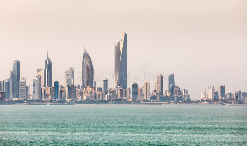 Kuwait`s coastline and skyline. KUWAIT CITY, KUWAIT - 19 Mar 2018: Kuwait`s coastline and skyline royalty free stock photos