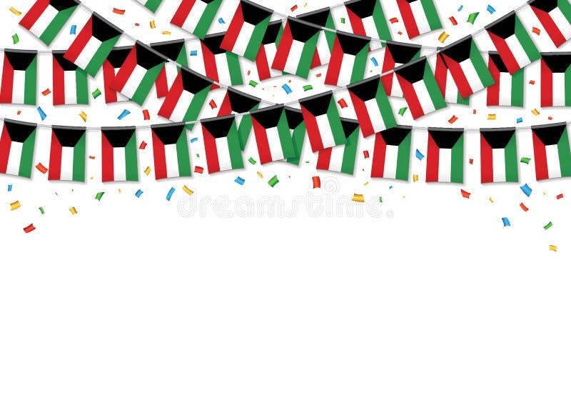 Kuwait sjunker vit bakgrund för girlanden med konfettier stock illustrationer