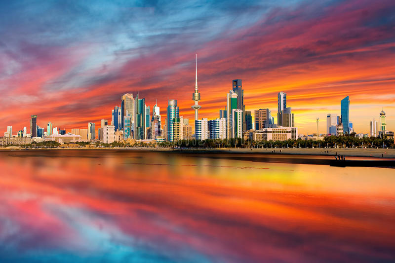 Kuwait Skyline. Cityscape view from Kuwait Shuwaikh Port - Gulf royalty free stock photo