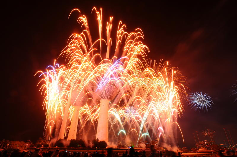 Download Kuwait Towers Fire work stock image. Image of arabic - 21670311