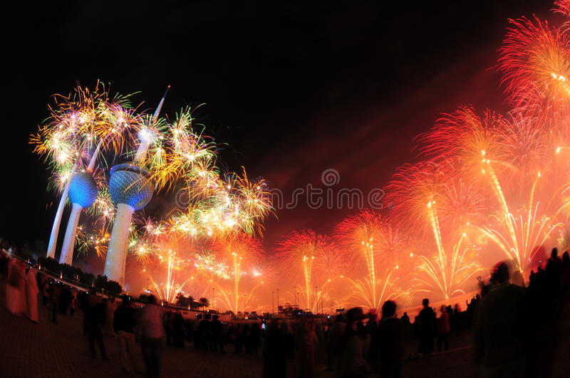 Kuwait Towers Fire work stock image