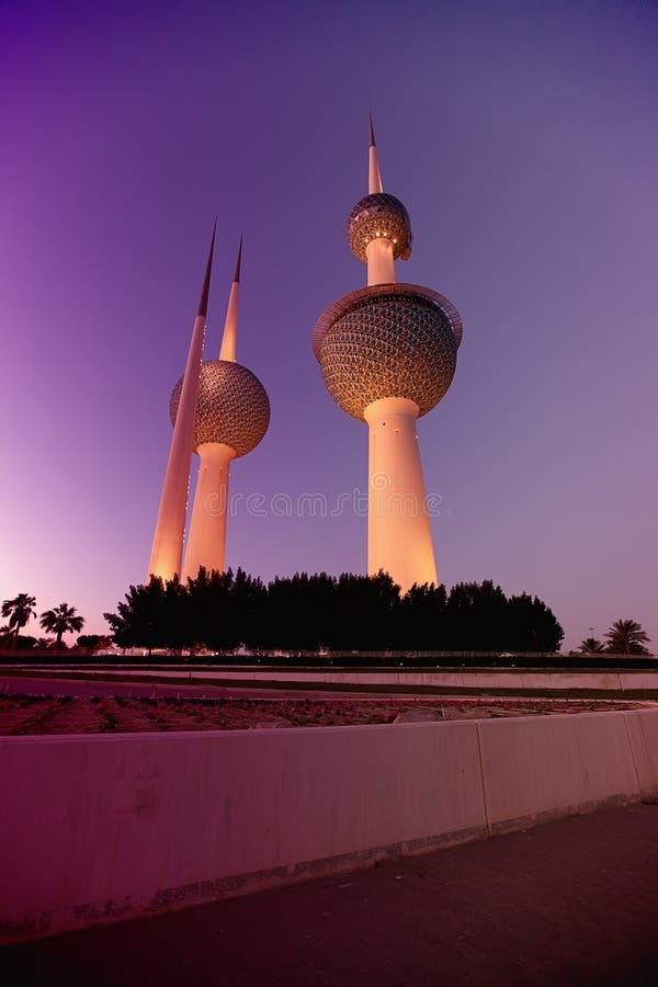 Kuwait Towers at night stock photos
