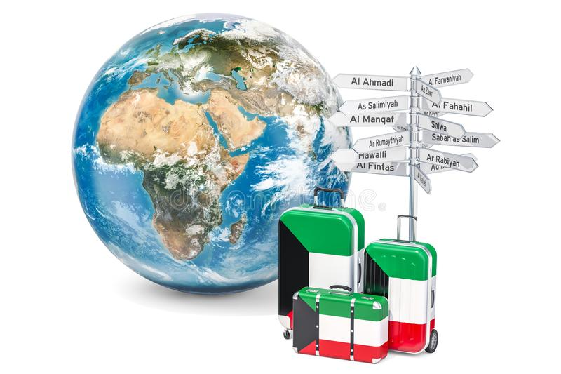 Kuwait travel concept. Suitcases with flag, signpost and Earth g. Lobe. 3D vector illustration