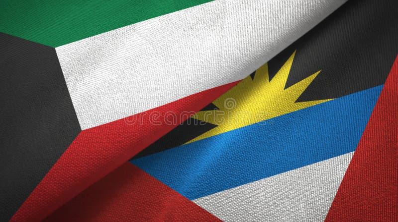 Kuwait- und Antigua und Barbuda-zwei Flaggentextilstoff, Gewebebeschaffenheit stock abbildung