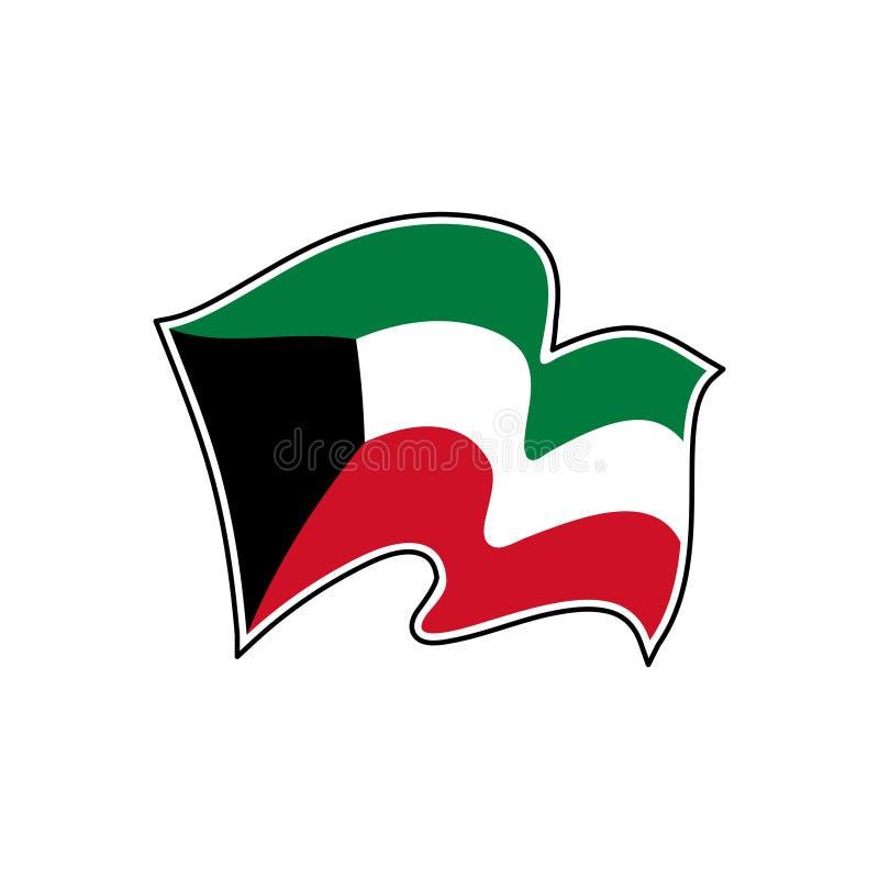 Kuwait vektorflagga Nationellt symbol av Kuwait royaltyfri illustrationer