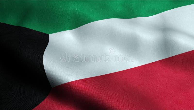 Kuwait vinkande flagga i 3D vektor illustrationer