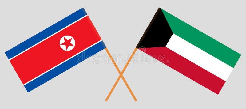 Kuwait y Corea del Norte  Banderas kuwaitíes y coreanas Colores oficiales Proporción correcta Vector ilustración del vector
