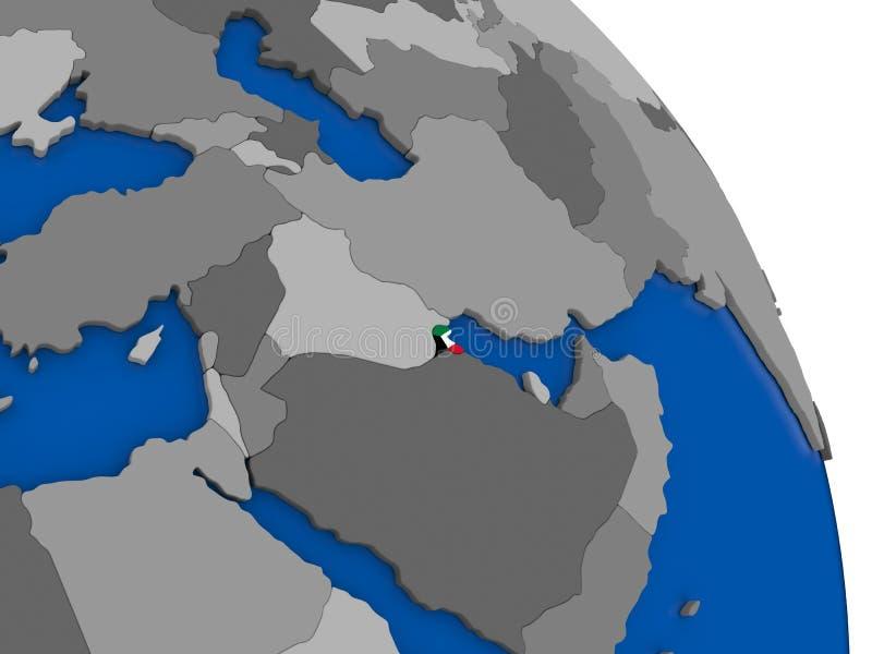 Kuwait y su bandera en el globo libre illustration