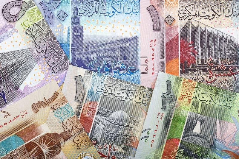 Kuwaitisk dinar en affärsbakgrund royaltyfri foto