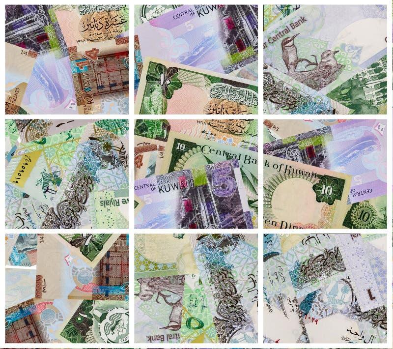 Kuwaitisk dinar och qatarisk Riyalsedelbakgrund arkivfoton