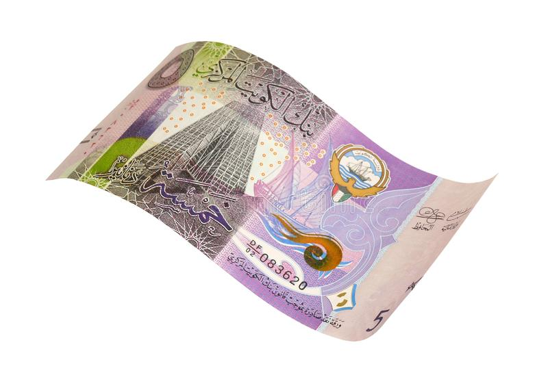 Kuwaitiska 5 dinar sedlar arkivbild