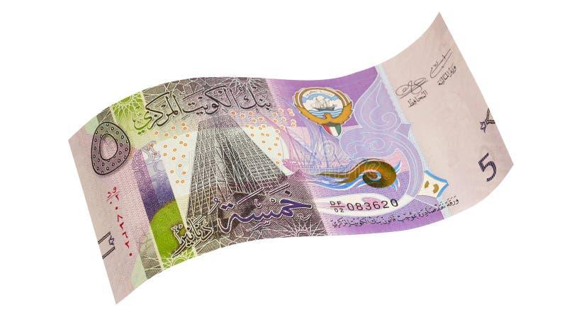 Kuwaitiska 5 dinar sedlar royaltyfria foton