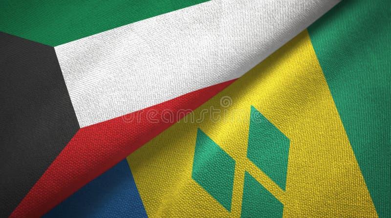 Kuwejt, święty Vincent i grenadyn dwa flag tkaniny płótno ilustracja wektor