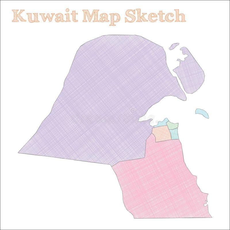 Kuwejt mapa ilustracja wektor