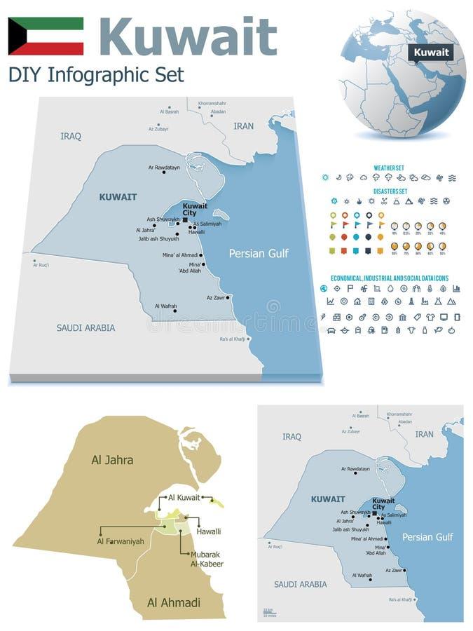 Kuwejt mapy z markierami ilustracji