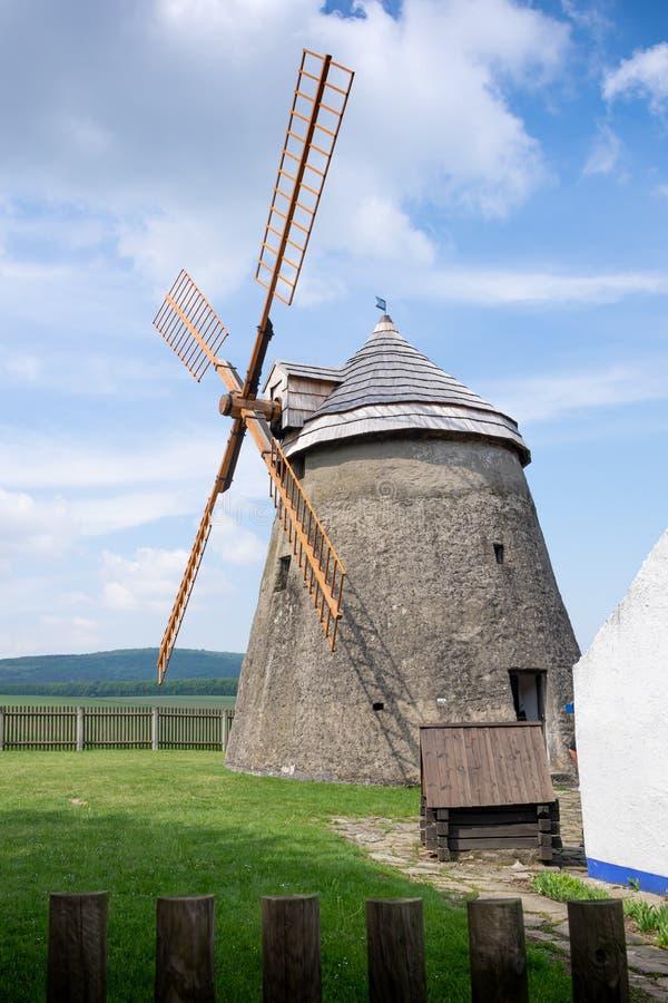 Kuzelov Czech Republic / Southern Moravia - May 17, 2020 – Wind mill of Holland type in Kuzelov – technological monument. Kuzelov Czech Republic / Southern stock images