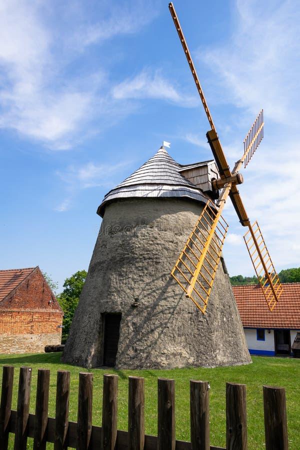 Kuzelov Czech Republic / Southern Moravia - May 17, 2020 – Wind mill of Holland type in Kuzelov – technological monument. Kuzelov Czech Republic / Southern royalty free stock image