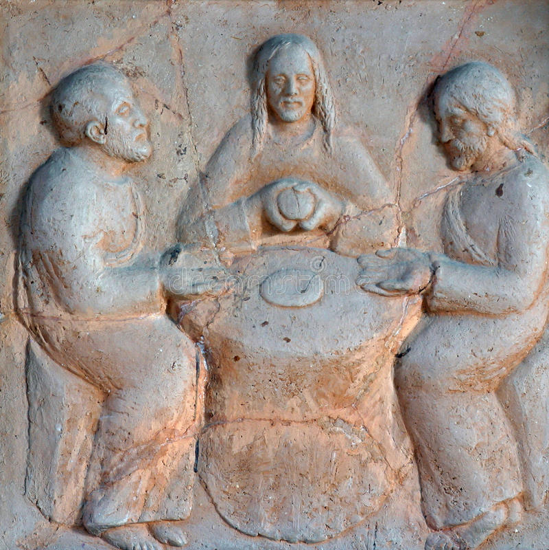 Kvällsmål på Emmaus arkivfoto