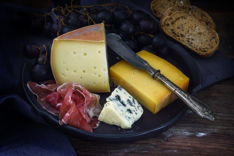 Kvällsmålplatta med olik ost, luft torkad skinka, blåa druvor och royaltyfri foto