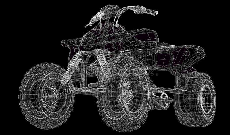 Kvadratcykel, motorcykel, modell 3D stock illustrationer