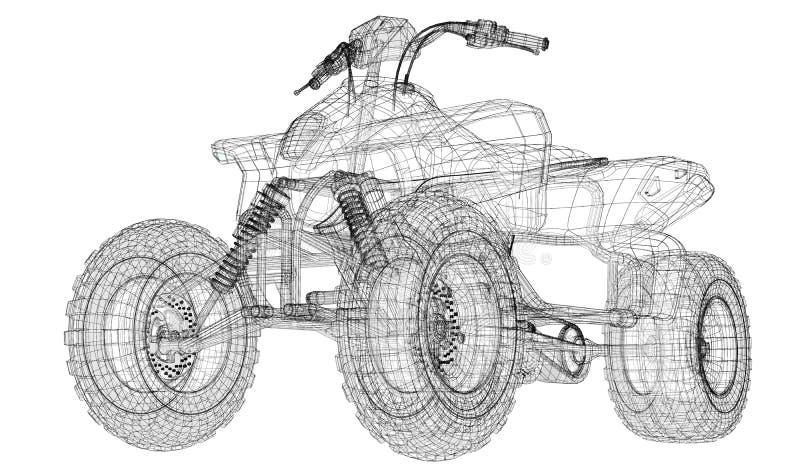 Kvadratcykel, motorcykel, modell 3D royaltyfri illustrationer