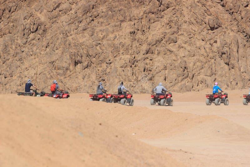 Kvadratmopedsafari i den Sinai öknen, Sharm el Sheikh, Egypten, en tur på quadrocyclesna av berget av Sinai royaltyfria foton