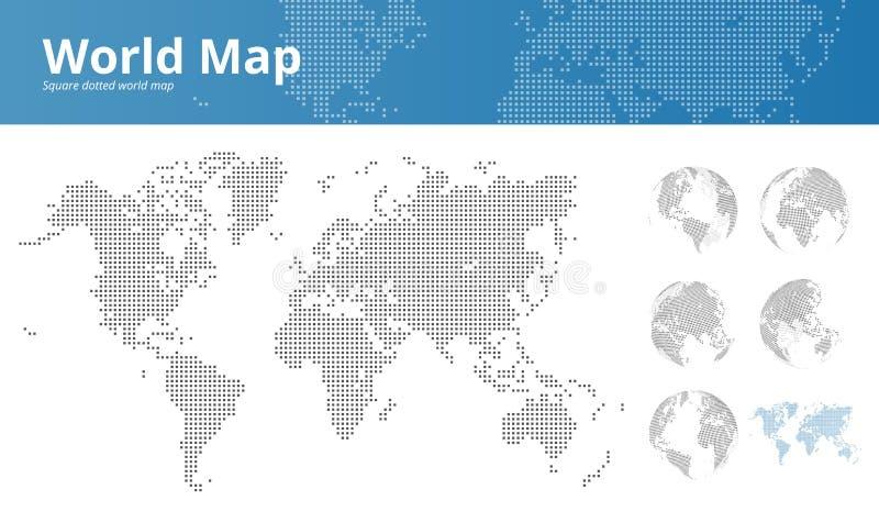 Kvadrera den prickiga världskartan och jorda en kontakt jordklot som visar alla kontinenter stock illustrationer