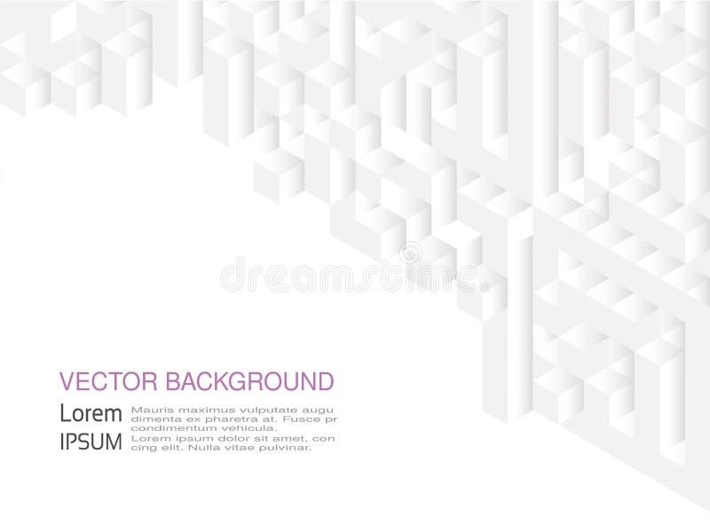 Kvadrerad modell Geometrisk textur i vit färg Stilfulla tegelplattor för effekt abstrakt dynamisk bakgrund som 3d skapas av kuber royaltyfri illustrationer