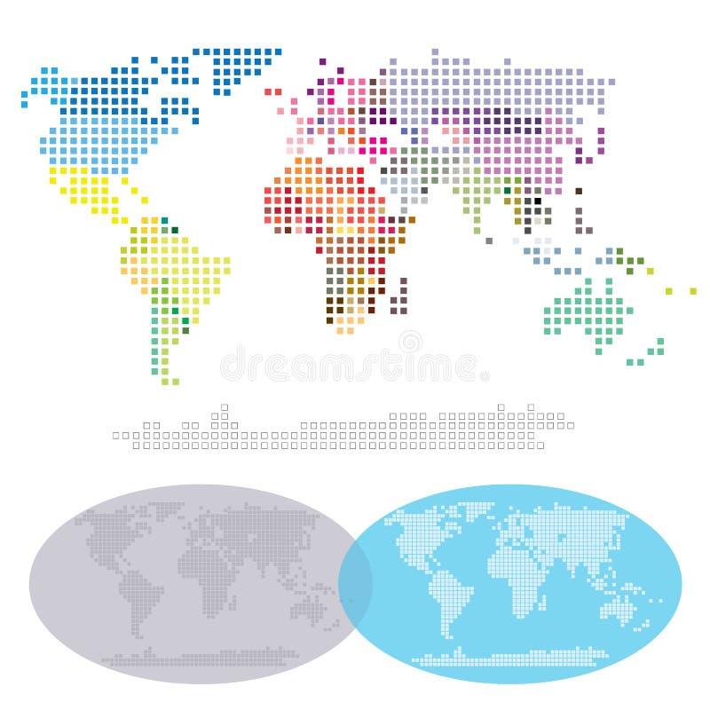 Kvadrerad världskontinentöversikt arkivbild